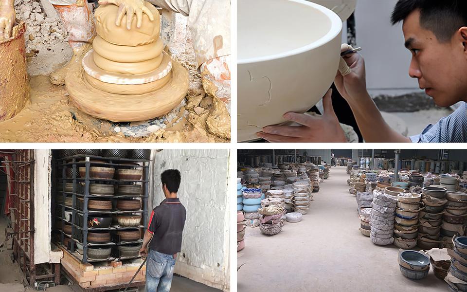 Quá trình sản xuất chậu lavabo gốm sứ mỹ thuật