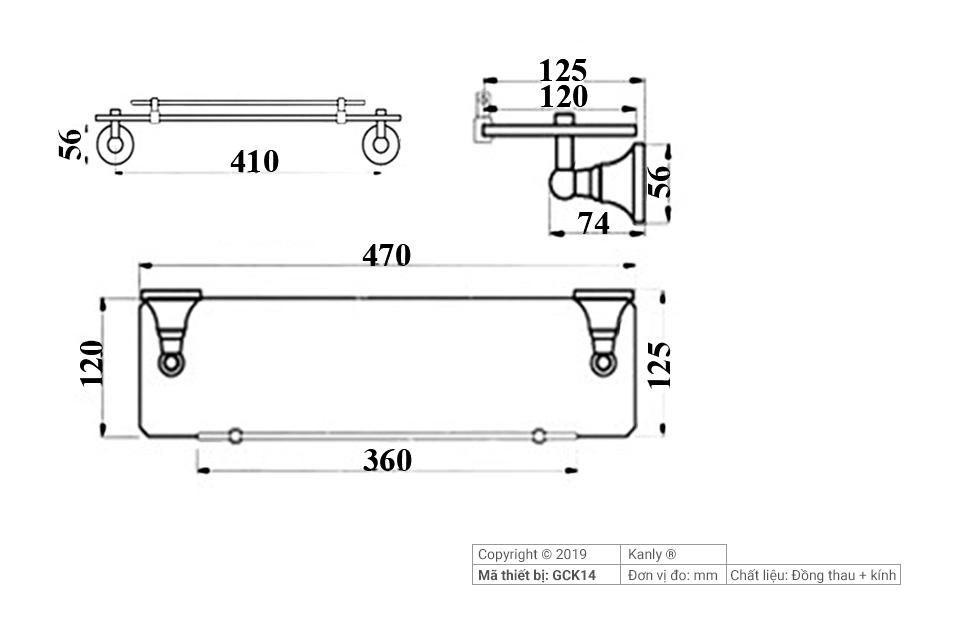 Sơ đồ chi tiết kỹ thuật kệ mỹ phẩm phòng tắm GCK14