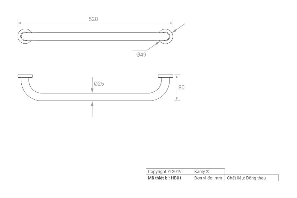 Thông số lắp đặt thanh tay vịn phòng tắm HB01