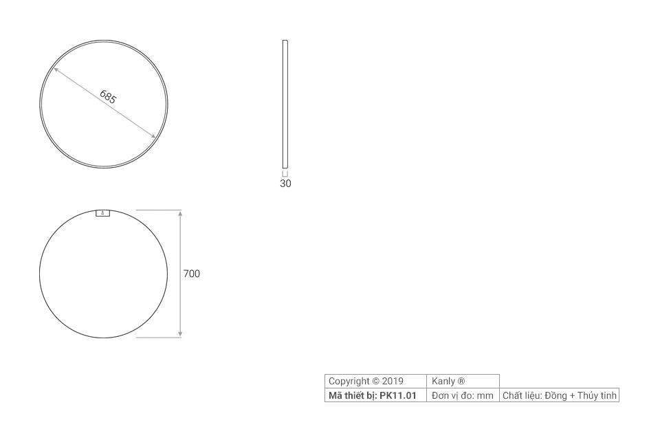 Thông số chi tiết lắp đặt gương tròn treo tường