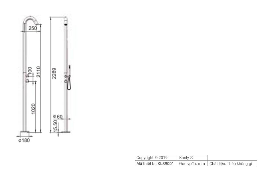 Sơ đồ chi tiết vòi sen cầm tay linh hoạt KLS9001