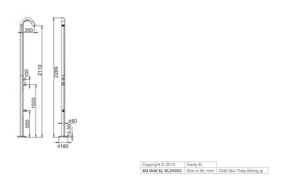 Sơ đồ chi tiết vòi sen tắm hồ bơi ngoài trời KLS9002