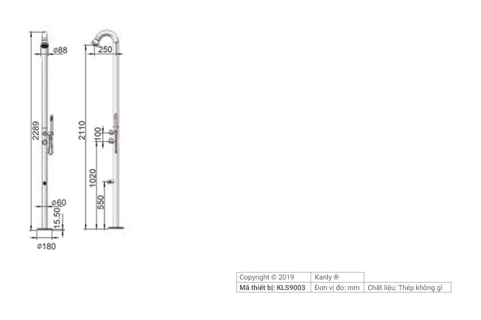 Sơ đồ chi tiết cây sen tắm hồ bơi KLS9003