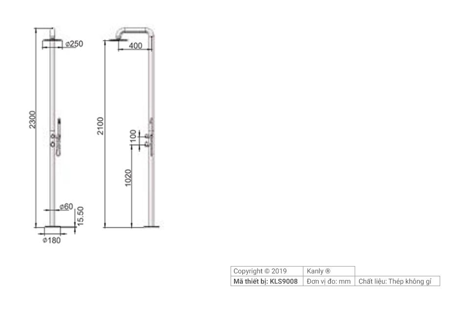 Sơ đồ chi tiết vòi hoa sen cây tắm đứng KLS9008