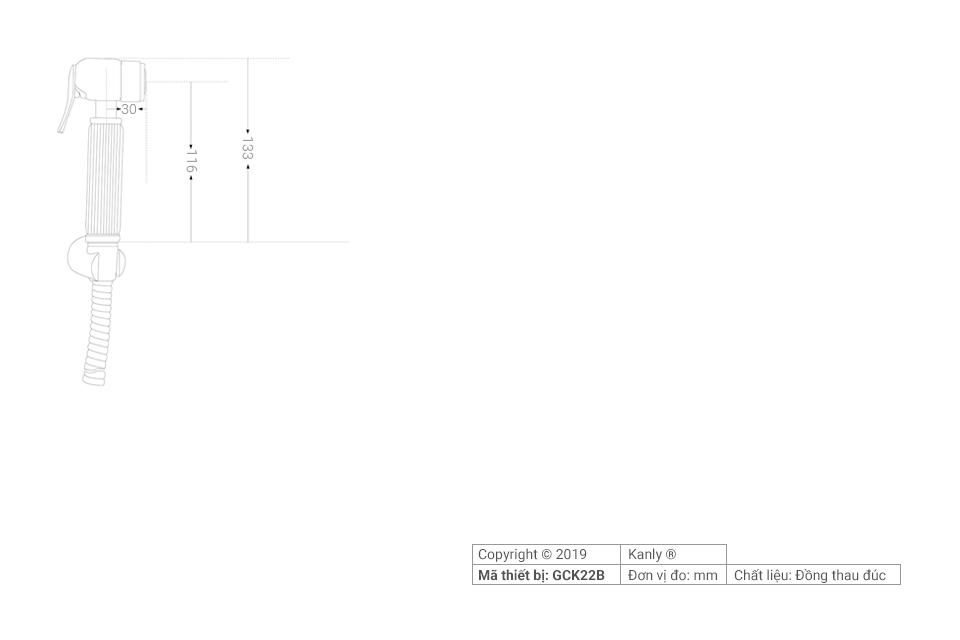 Thông số chi tiết lắp đặt vòi xịt rửa vệ sinh bồn cầu GCK22B