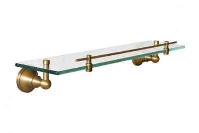 Kệ mỹ phẩm phòng tắm được thiết kế và hoàn thiện từ đồng thau cùng với chất liệu kính, mang đến vẻ đẹp mỹ thuật tinh tế, sang trọng và cổ điển, mộc mạc