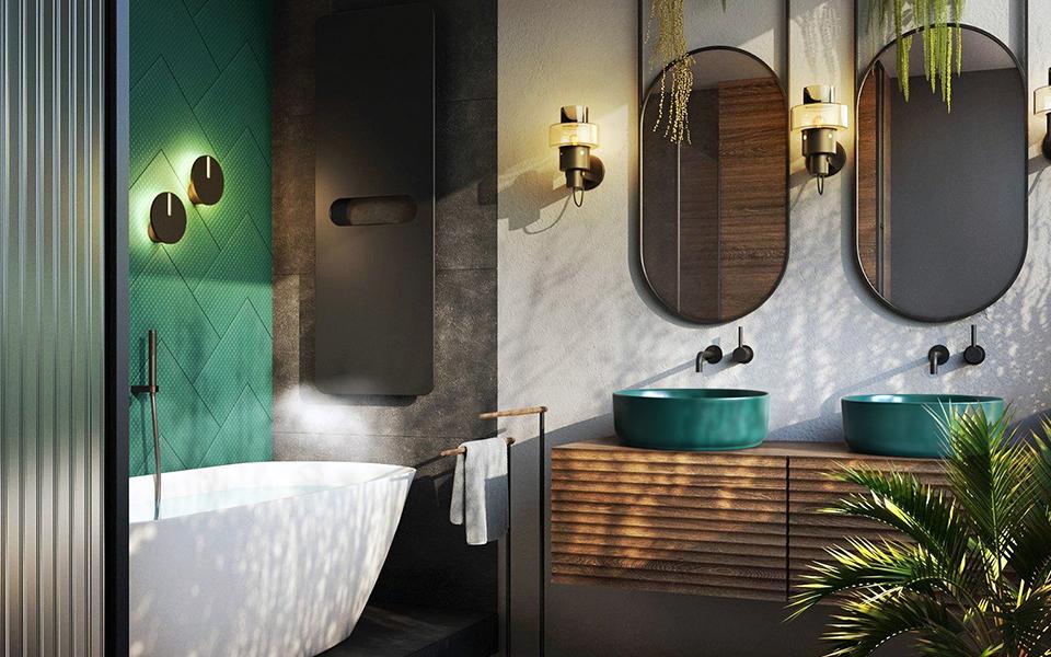 Top 6 chậu lavabo sứ màu cho không gian phòng tắm phong cách Colour-Block
